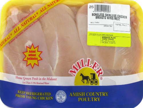 Miller Boneless Skinless Chicken Breasts with Rib Meat (3 per Pack) Perspective: front