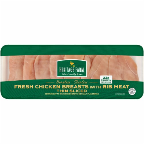 Heritage Farm Thin Sliced Boneless & Skinless Chicken Breasts Perspective: front