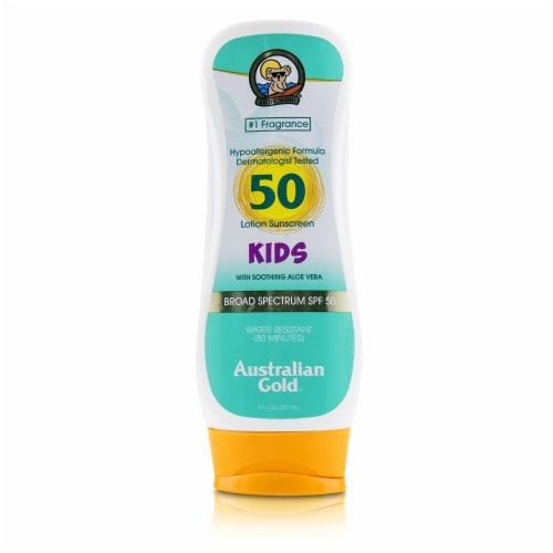 Australian Gold Lotion Sunscreen Broad Spectrum SPF 50 with Soothing Aloe Vera  For Kids (Exp Perspective: front