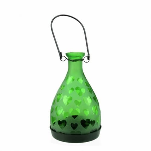 NorthLight 6.25 in. Frosted Green Hearts Glass Bottle Tea Light Candle Lantern Perspective: front