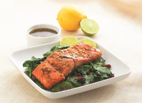 Kentucky Bourbon Freshly Prepared Salmon Perspective: front
