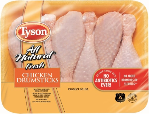 Tyson All Natural Fresh Chicken Drumsticks Perspective: front