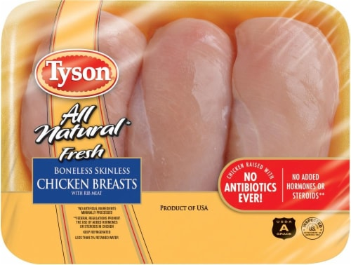 Tyson All Natural Fresh Boneless Skinless Chicken Breasts Perspective: front