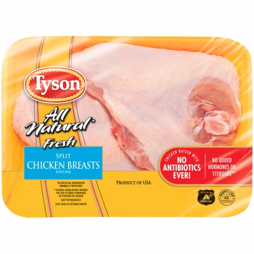Tyson All Natural Fresh Split Chicken Breasts with Rib Meat Perspective: front