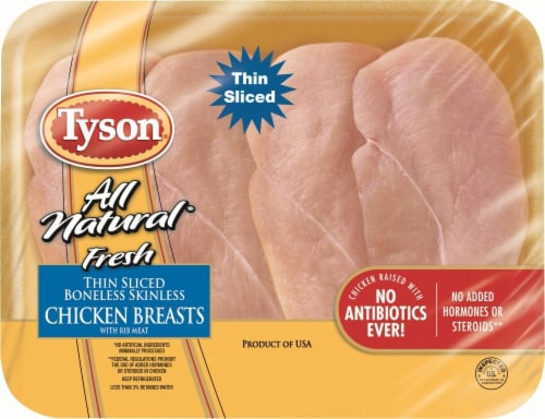 Tyson All Natural Fresh Thin Sliced Boneless Skinless Chicken Breasts with Rib Meat Perspective: front