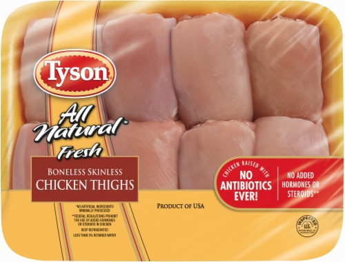 Tyson All Natural Fresh Boneless Skinless Chicken Thighs Perspective: front