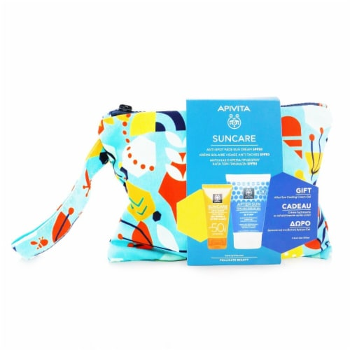 Apivita Suncare Gift Set: AntiSpot Face Cream SPF50 50ml + After Sun Cooling CreamGel 100ml ( Perspective: front