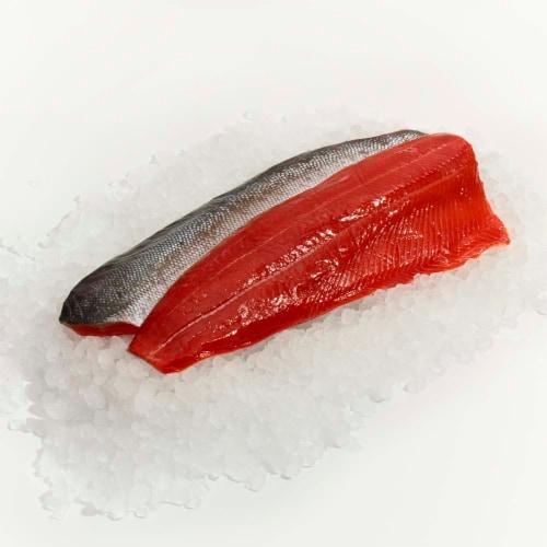 Wild Caught Fresh Sockeye Salmon Fillet Perspective: front