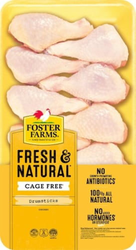 Foster Farms Fresh & Natural Cage Free Chicken Drumsticks Perspective: front