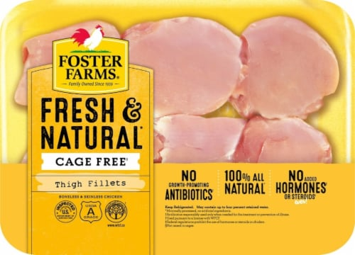 Foster Farms Fresh & Natural Cage Free Boneless Skinless Chicken Thigh Fillets Perspective: front