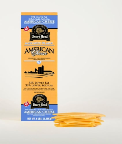 Boar's Head Lower Sodium & Fat Yellow American Cheese Perspective: front