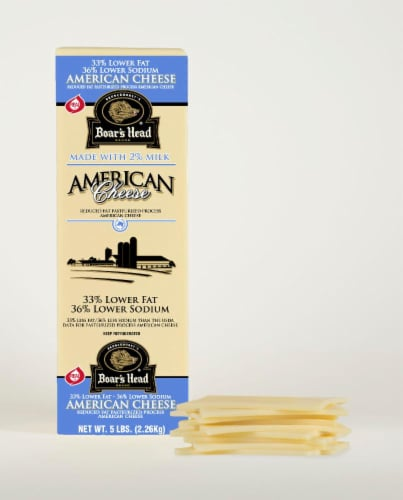 Boar's Head Lower Sodium & Fat White American Cheese Perspective: front