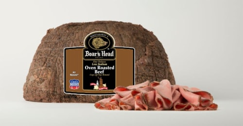 Boar's Head Low Sodium Cap-Off Top Round Oven Roasted Beef Perspective: front