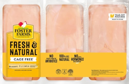 Foster Farms Freash & Natural Boneless & Skinless Chicken Breast Fillets Perspective: front