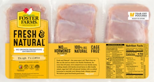 Foster Farms Fresh & Natural Chicken Thigh Fillets Boneless & Skinless (10-12 per Pack) Perspective: front