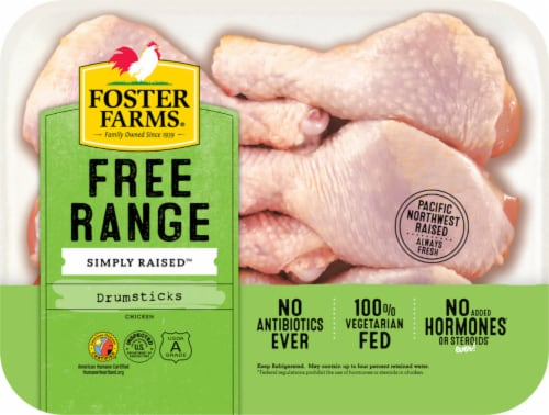 Foster Farms Free Range Simply Raised Chicken Drumsticks Perspective: front