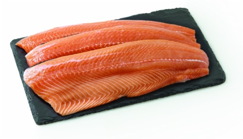 Farm-Raised Fresh Atlantic Salmon Whole Fillet – Fresh From the Service Counter Perspective: front