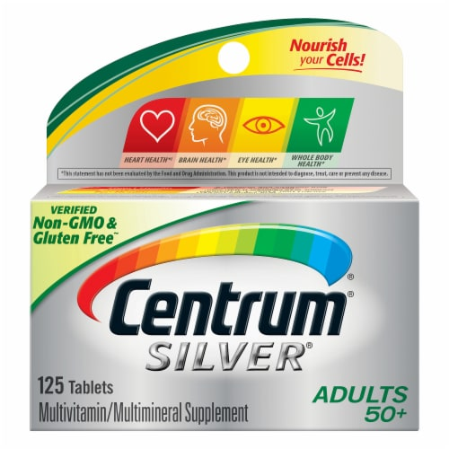 Centrum Silver Adults 50 + Complete Multivitamin / Multimineral Supplement Tablets Perspective: front