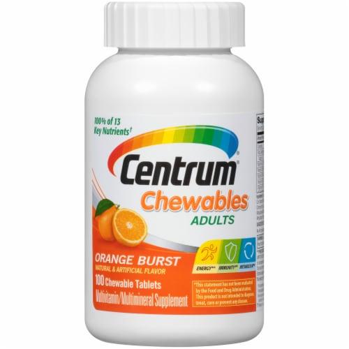 Centrum Orange Burst Chewables Adult Multivitamin Tablets Perspective: front