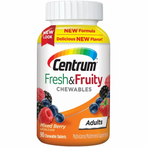 Centrum Adults Fresh & Fruity Mixed Berry Chewable Tablets Perspective: front