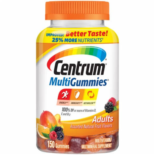 Centrum MultiGummies Assorted Natural Fruit Flavors Adult Multivitamin Gummies Perspective: front