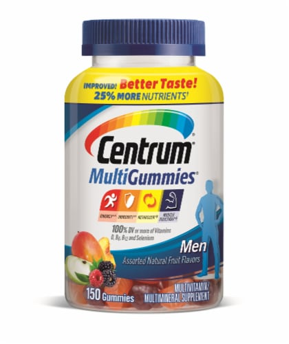 Centrum MultiGummies Men Assorted Natural Fruit Flavors Multivitamin And Multimineral Gummies Perspective: front