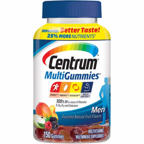 Centrum MultiGummies Assorted Natural Fruit Flavored Men Multivitamin Gummies Perspective: front