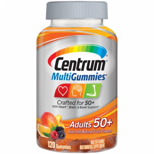 Centrum MultiGummies Adults 50 Plus Natural Cherry Berry & Orange Flavored Gummies Perspective: front