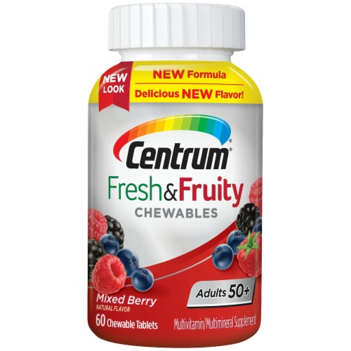 Centrum Adults 50+ Fresh & Fruity Mixed Berry Chewable Tablets Perspective: front
