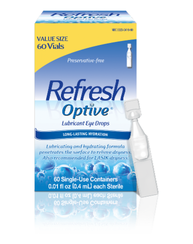 Refresh Optive Lubricant Eye Drop Vials Value Size Perspective: front