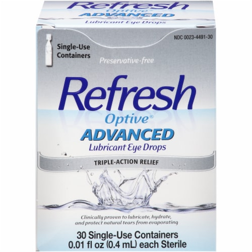 Refresh Optive Advanced Preservative Free Triple-Action Relief Lubricant Eye Drops Perspective: front