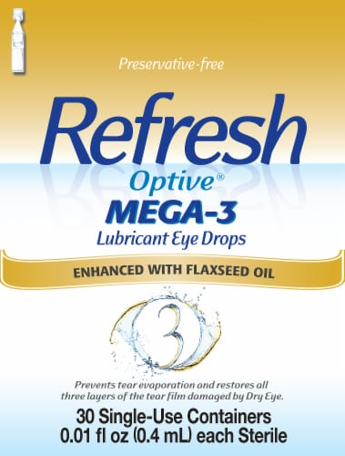 Refresh Optive Mega-3 Lubricant Eye Drops Perspective: front