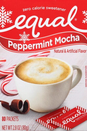 Equal Peppermint Mocha Zero Calorie Sweetener Packets 80 Count Perspective: front