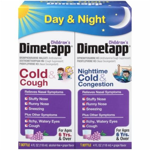 Dimetapp Children's Day & Night Liquid Cold & Cough Suppressant & Decongestant Relief Perspective: front