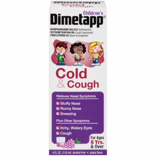Dimetapp Children's Grape Cold & Cough Liquid Medicine Perspective: front