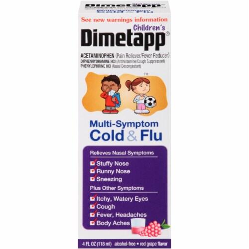 Dimetapp Children's Multi-Symptom Red Grape Flavor Cold & Flu Liquid Medicine Perspective: front