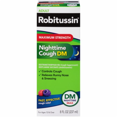 Robitussin Max Strength Blue Raspberry Nighttime Cough DM Liquid Perspective: front