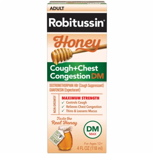 Robitussin Adult Honey Cough + Chest Congestion DM Liquid Perspective: front