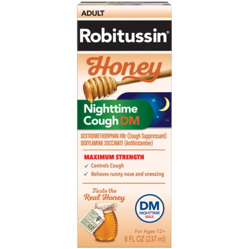 Robitussin Honey Nighttime Cough DM Cough Suppressant Perspective: front
