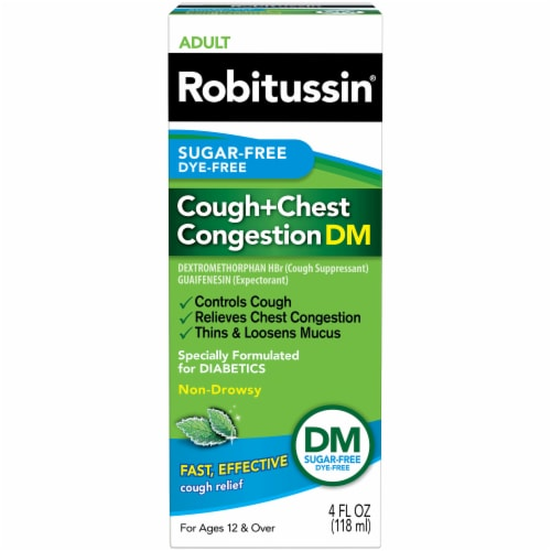 Robitussin Sugar Free Dye Free Cough & Chest Congestion DM Relief Perspective: front