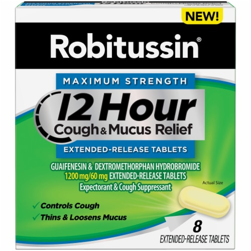 Robitussin 12 Hour Cough & Mucus Relief Extended-Release Tablets Perspective: front