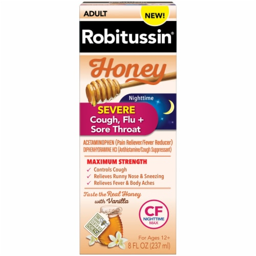 Robitussin Honey Maximum Strength Nighttime Severe Cough Flu & Sore Throat Liquid Perspective: front