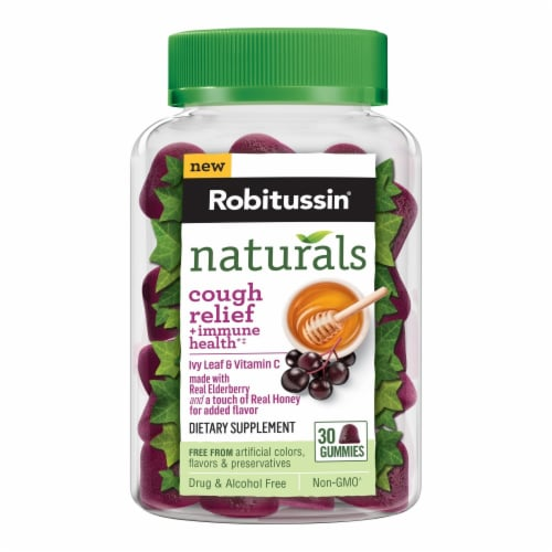 Robitussin Naturals Cough Relief & Immune Health Dietary Supplement Gummies Perspective: front