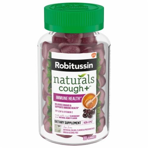 Robitussin Naturals Honey and Elderberry Flavor Cough Relief + Immune Health Gummies Perspective: front