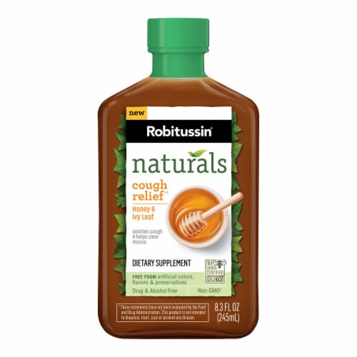 Robitussin Naturals Cough Relief Honey & Ivy Leaf Dietary Supplement Liquid Perspective: front