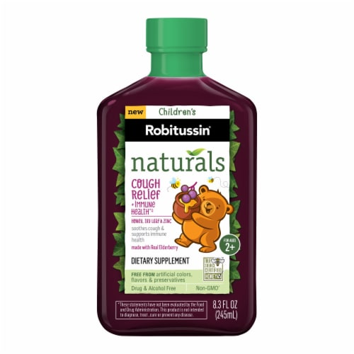 Robitussin Naturals Honey Ivy Leaf & Zinc Children's Cough Relief Syrup Perspective: front