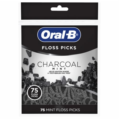 Oral-B Charcoal Mint Floss Picks Perspective: front