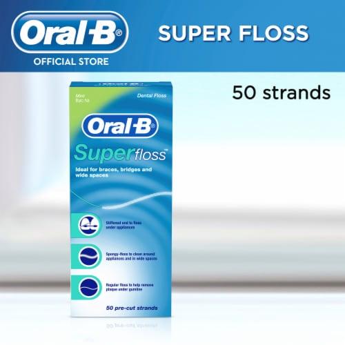 Oral-B Super Floss Mint Pre-Cut Floss Strands Perspective: front