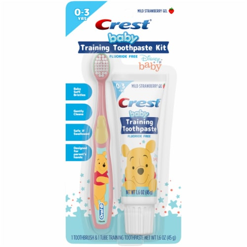 Crest Training Toothpaste Disney Kit Fluoride Free Mild Strawberry Gel Paste + Toothbrush Perspective: front
