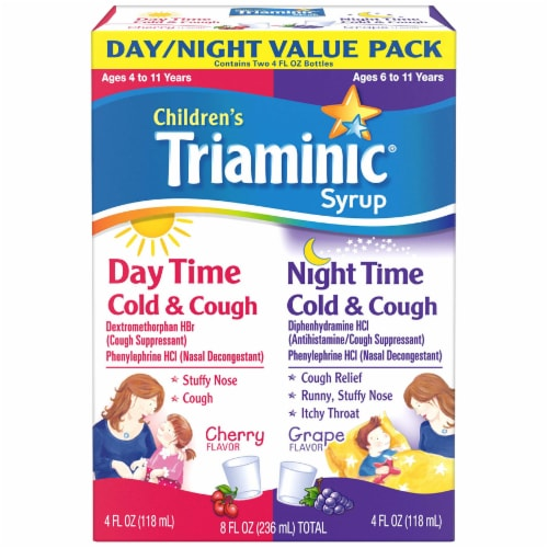 Triaminic Children's Combo Day/Night Cold & Cough Liquid Perspective: front